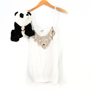 White Express lace, bead accent camisole